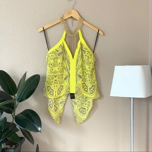 NWT Bebe Yellow Chain Halter Top